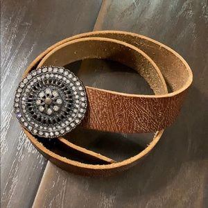 Fossil Leather Belt with Gem Medallion Buckle sz S